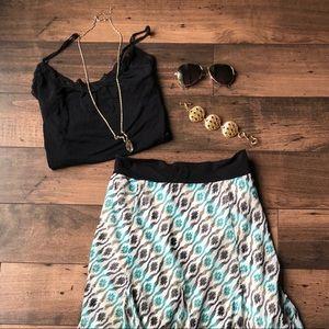 Beautiful Flowy Peacock Print Maxi Skirt